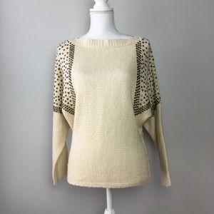 Francescas Bird Cage Studded Dolman Sleeve Sweater